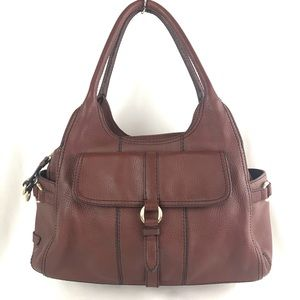 Cole Haan Brown Pebble Leather Large Satchel Tote
